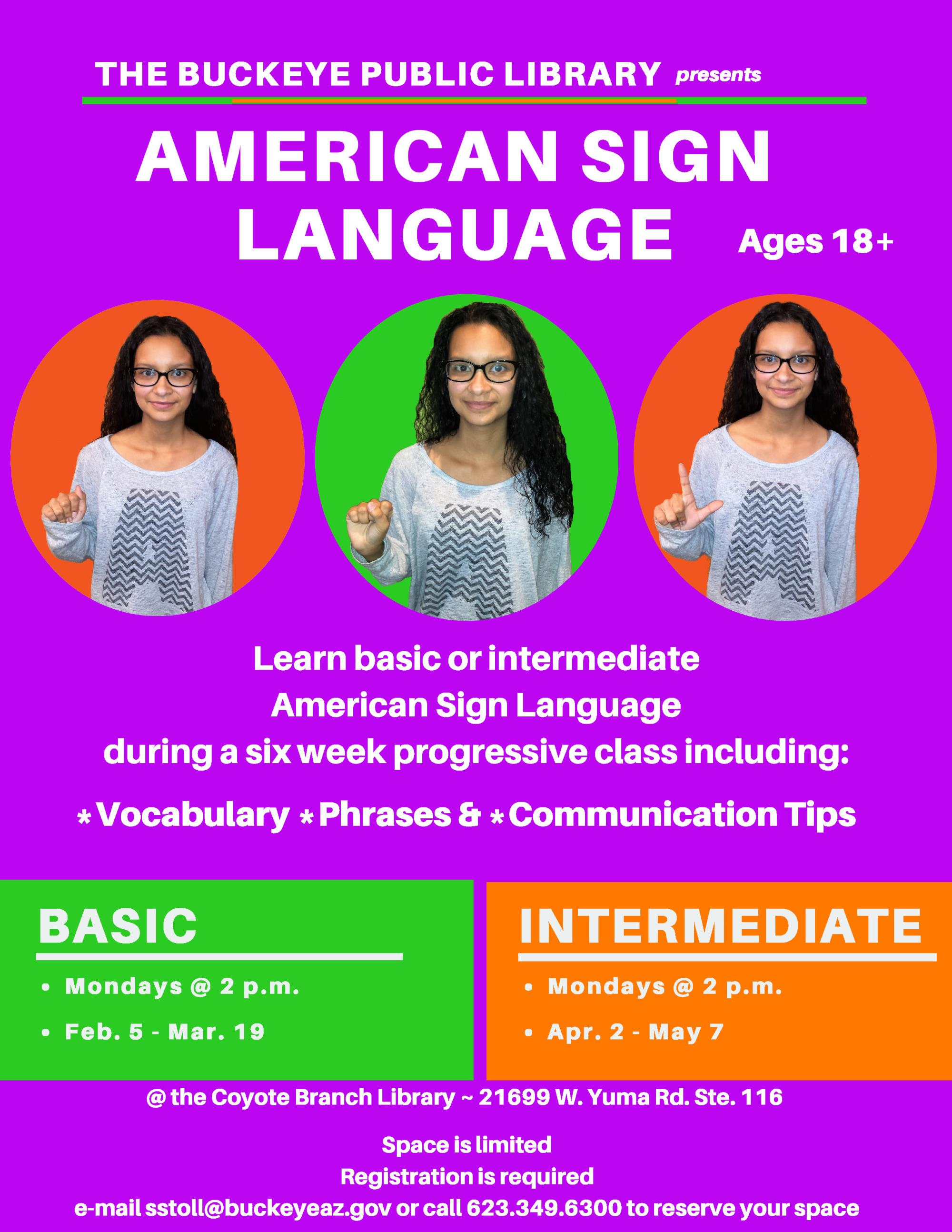 Flyer for American Sign Language Classes