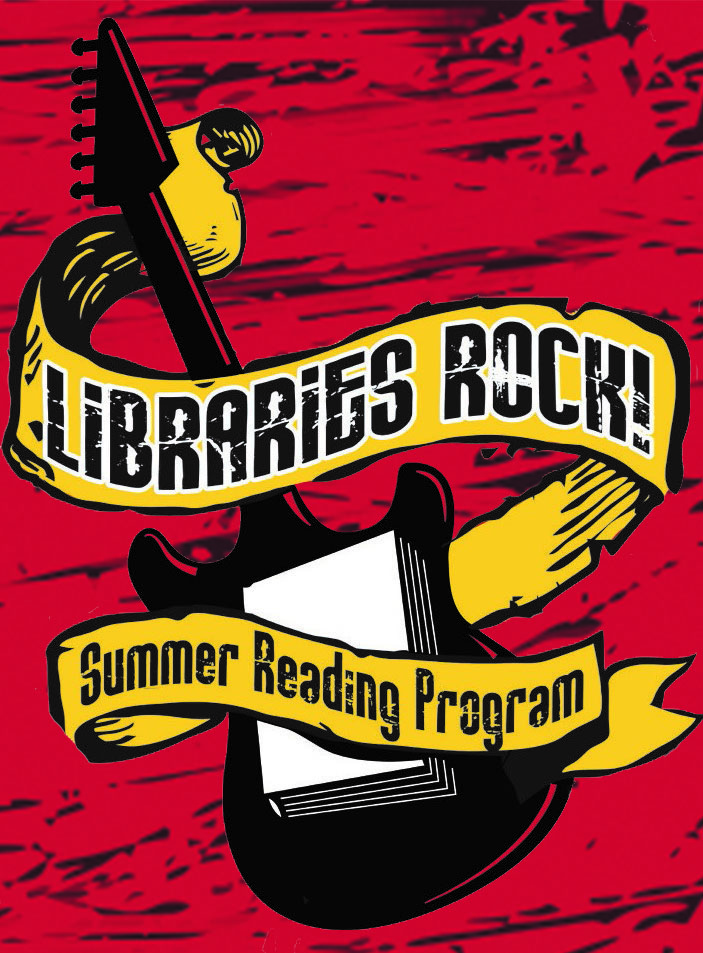 Libraries Rock logo, an image of a guitar with text
