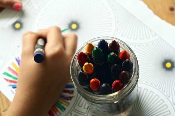 Child's Hand Drawing with crayons