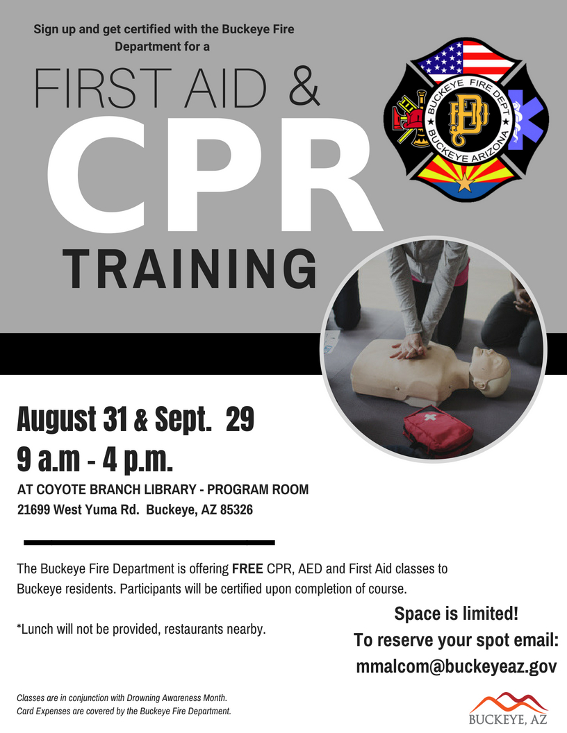 Cprfirst Aid Class Calendar Month View City Of Buckeye