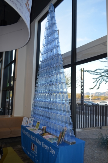 Tower of 120 one gallon water jugs