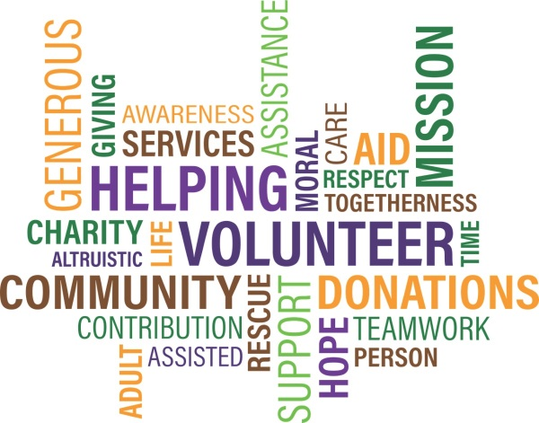Collage of words describing non-profit work