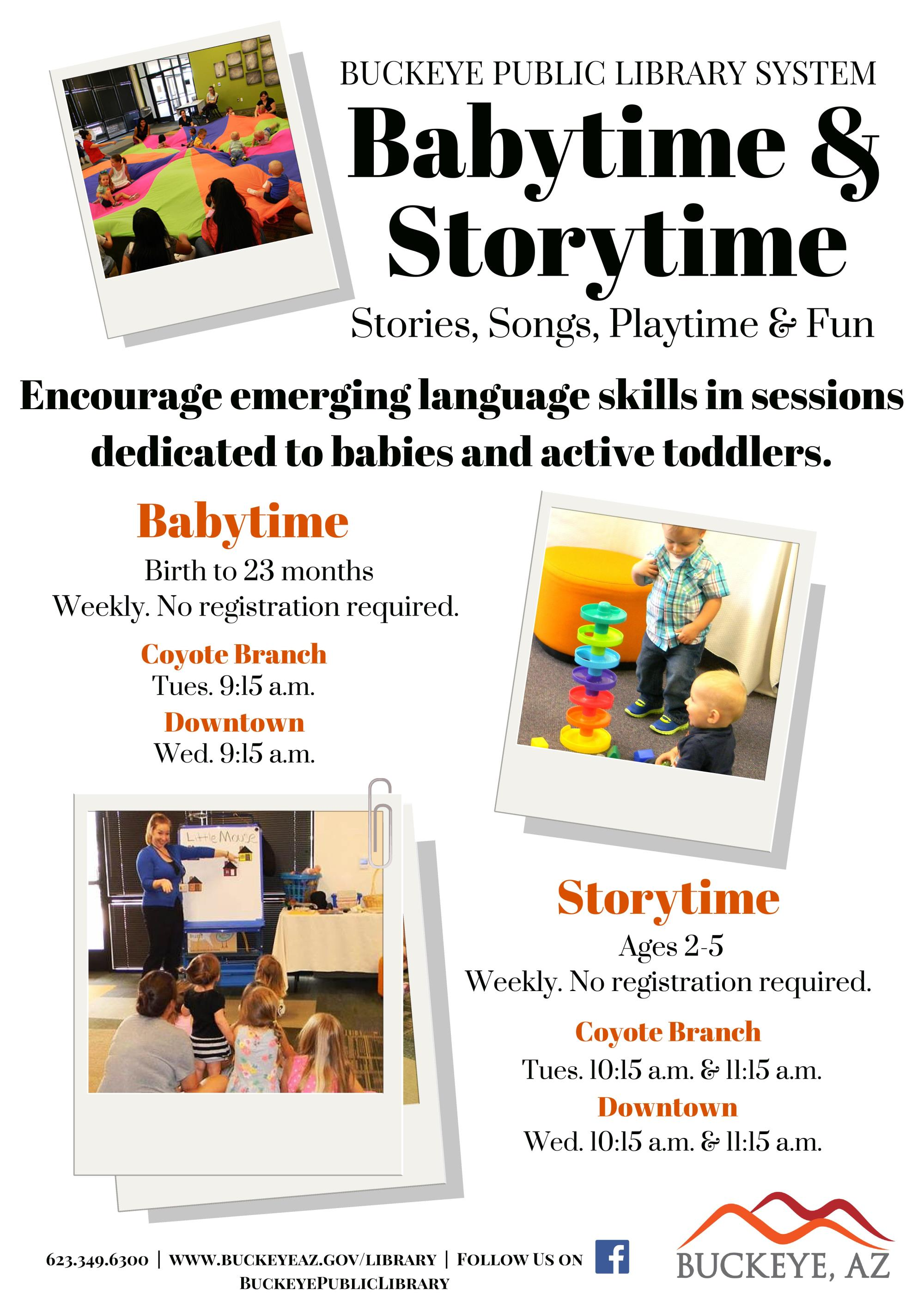 Flyer for baby time and story time at the library