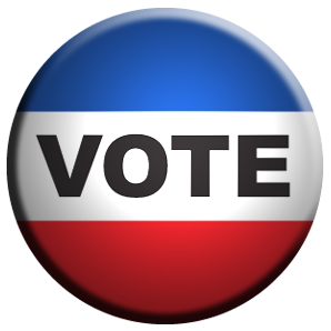 red, white and blue vote button