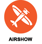 Air Fair icon, airplane on an orange background