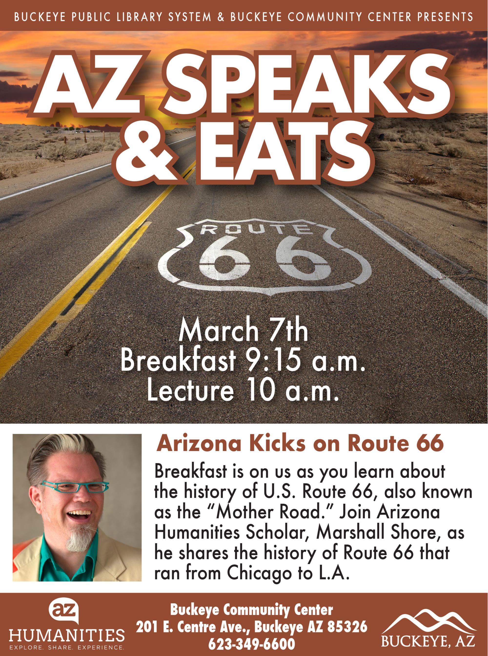Ad for Arizona Speaks and Eats lecture series.