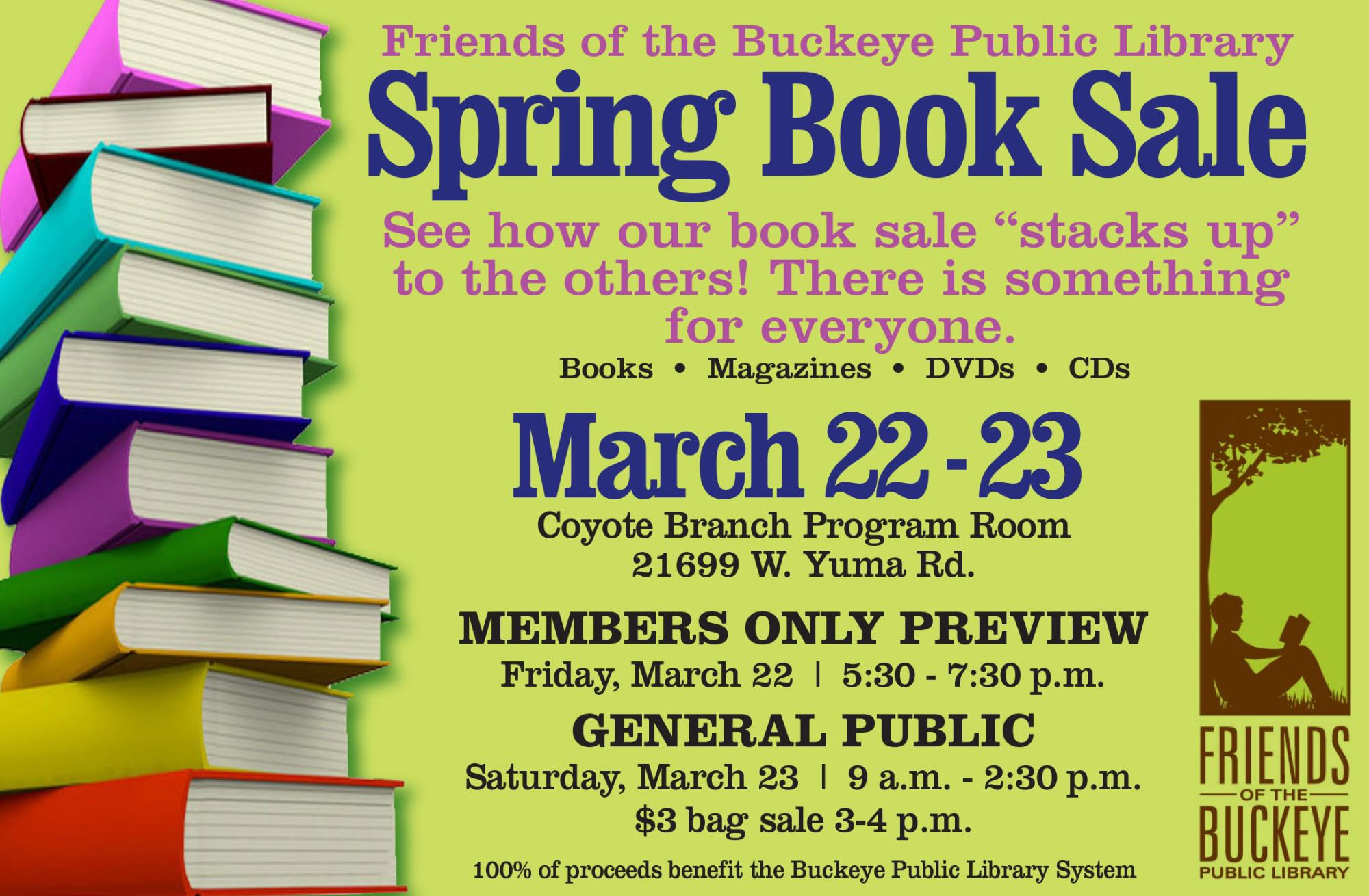 Ad for the spring book sale showing a stack of books