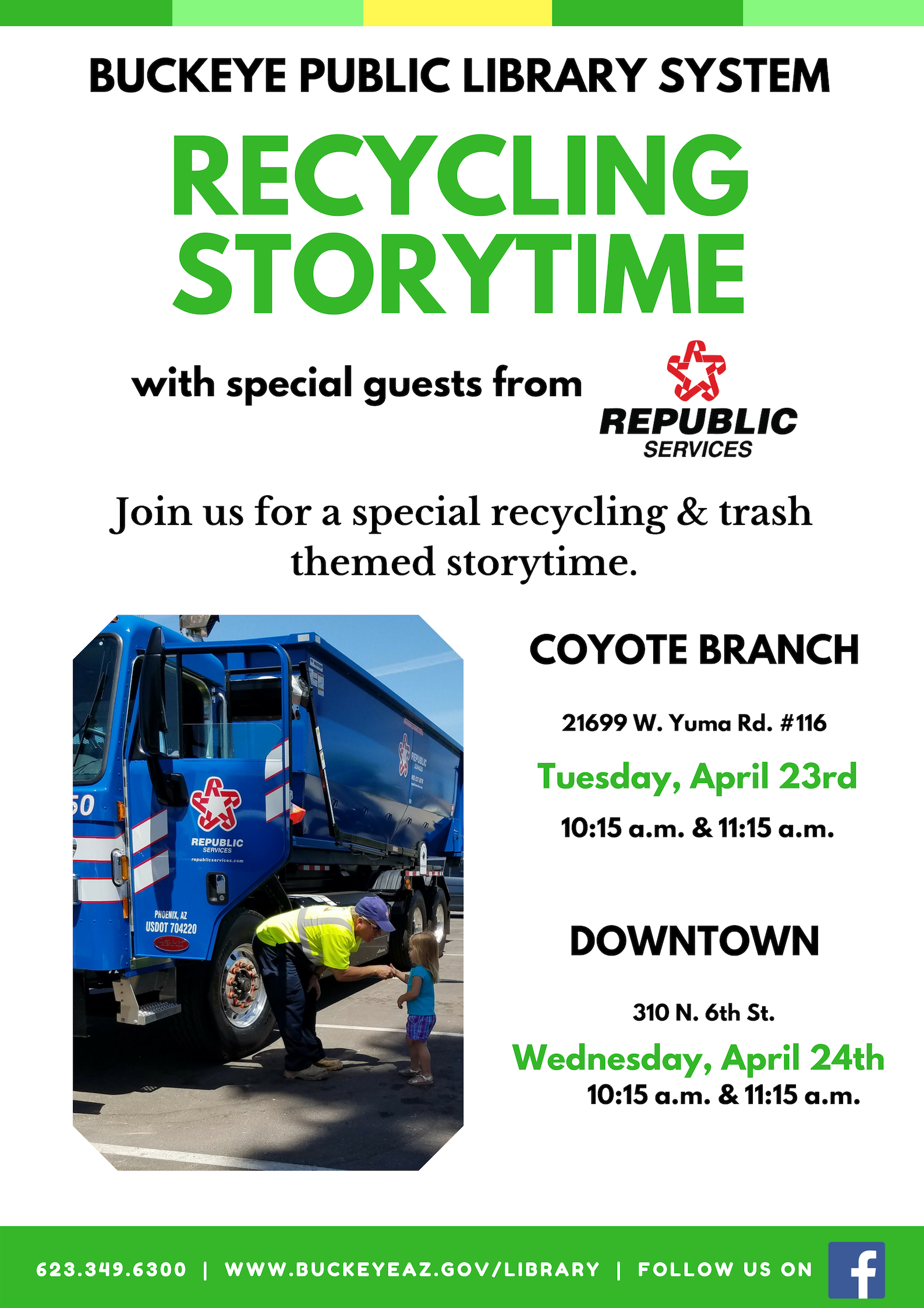 Flyer for event showing Recycle truck and little girl talking to truck driver