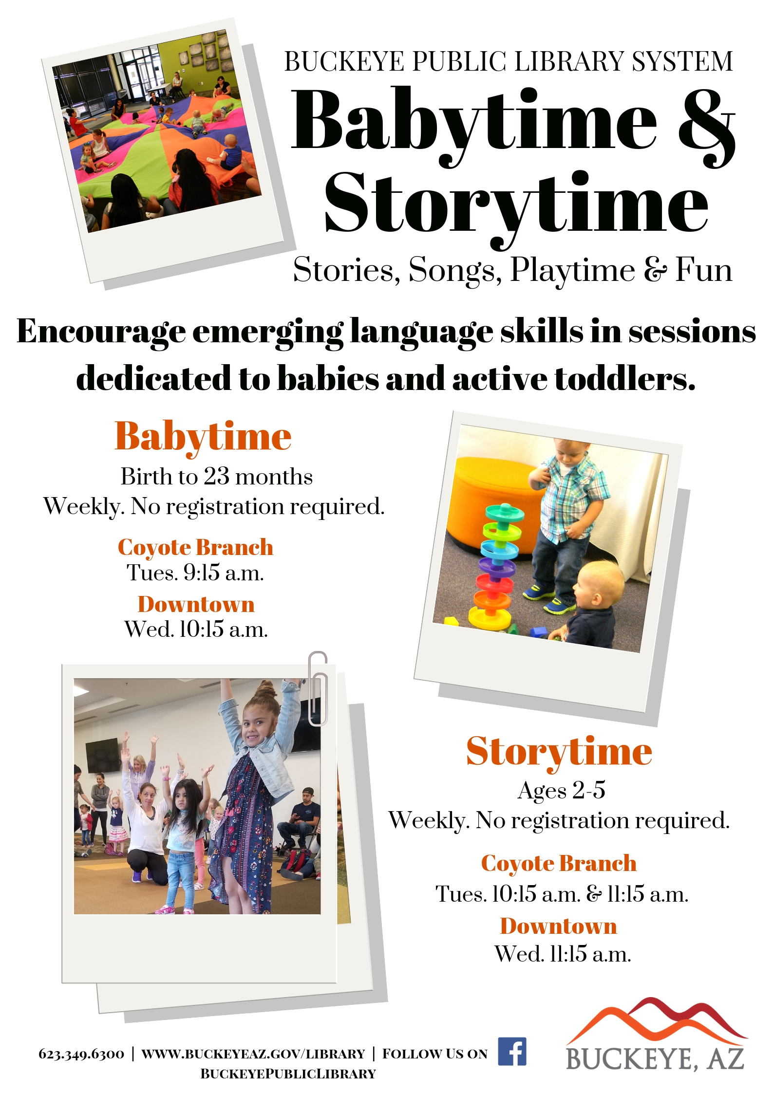 Storytime Flyer with pictures of young kids