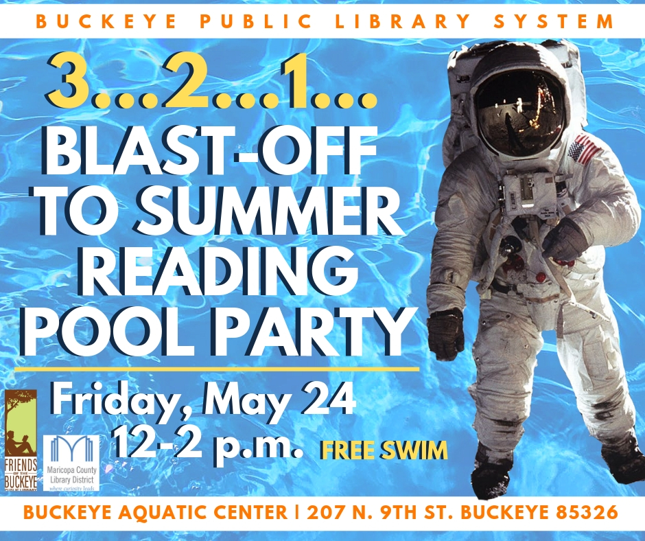 A flyer with an image of an astronaut floating over a pool
