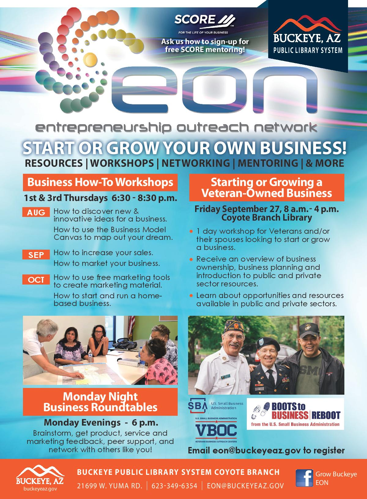 Flyer for EON with dates and times listed and pictures of adults working