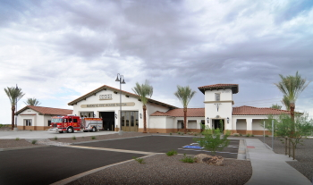 Exterior of Fire Station with fire truck
