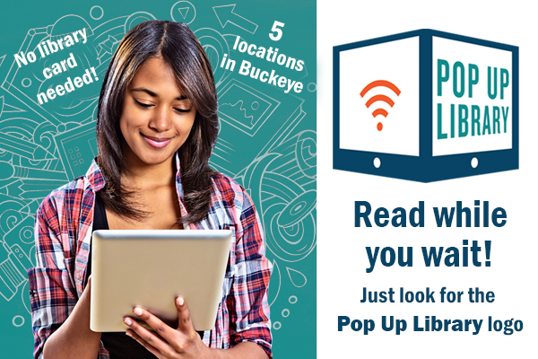 Lady on tablet, instructions on how to use pop up library