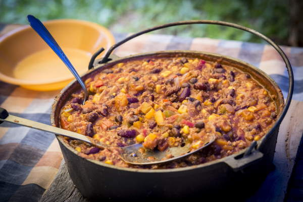Chili cooking in a dutch oven