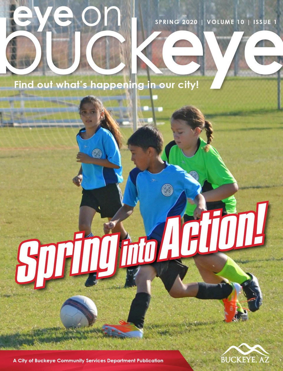 cover for spring eye on buckeye with kids playing soccer