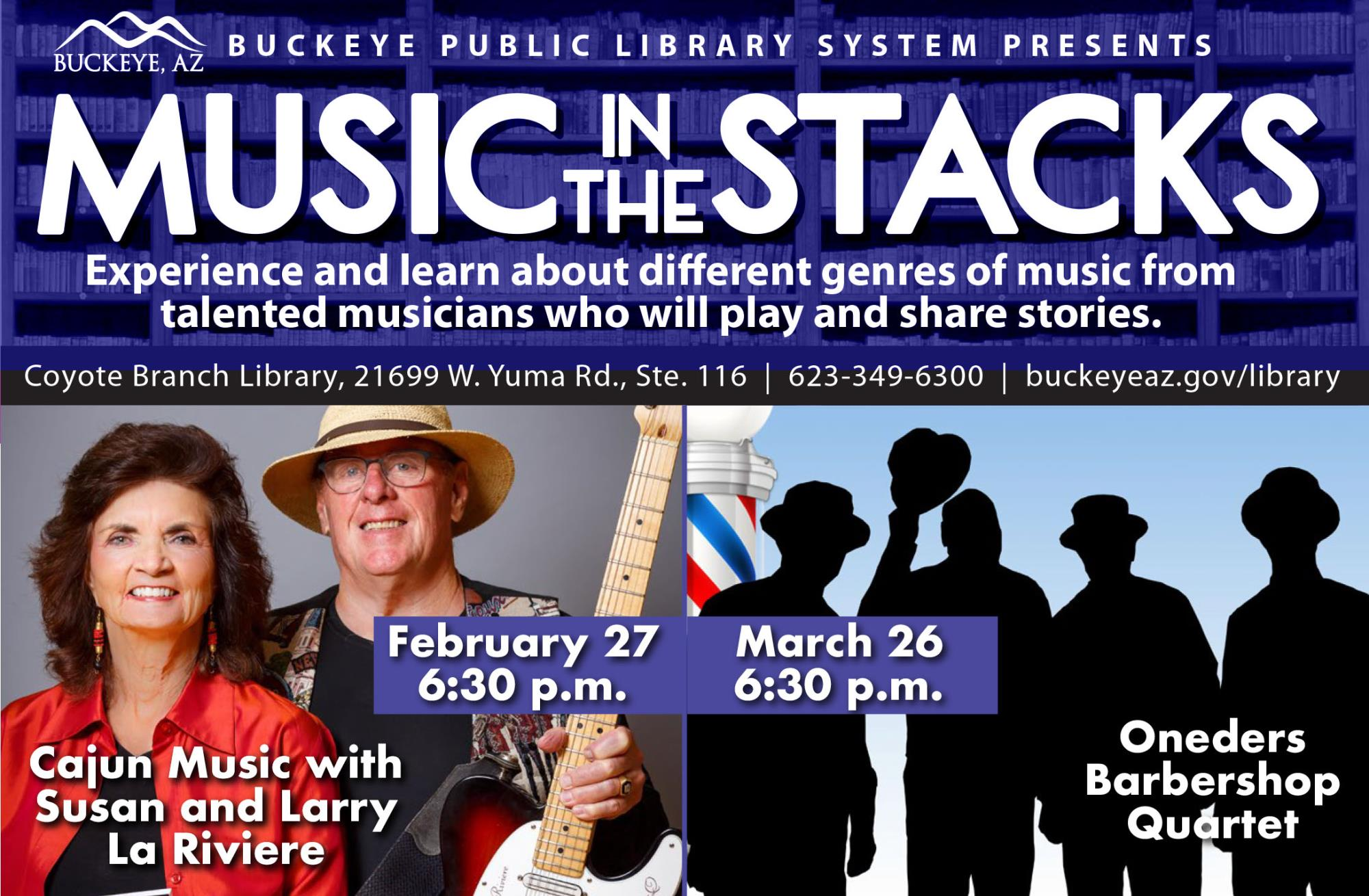 Music in the Stacks flyer showing a couple with guitar and four silhouettes